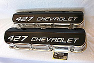 427 Chevrolet Aluminum Engine Valve Covers AFTER Chrome-Like Metal Polishing and Buffing Services Plus Custom Painting Services