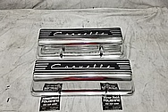 1957 Chevrolet Corvette Aluminum Valve Covers AFTER Chrome-Like Metal Polishing - Aluminum Polishing Services