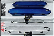 BEFORE AND AFTER Chrome-Like Metal Polishing - Aluminum Valve Covers