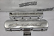 Chevrolet Aluminum Valve Covers AFTER Chrome-Like Polishing and Buffing - Aluminum Polishing - Valve Cover Polishing Plus Custom Accent Painting Service