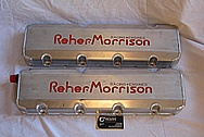 Roeher Morrison Racing Engines V8 Aluminum Valve Covers BEFORE Chrome-Like Metal Polishing and Buffing Services