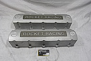 Rocket Racing Aluminum V8 Valve Covers BEFORE Chrome-Like Metal Polishing and Buffing Services / Restoration Services / Painting Services