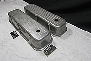 Chevrolet Aluminum Engine Valve Covers BEFORE Chrome-Like Metal Polishing and Buffing Services Plus Custom Painting Services