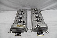 Ford Mustang Cobra Aluminum Valve Covers BEFORE Chrome-Like Metal Polishing and Buffing Services / Restoration Services