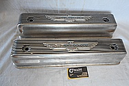 1957 Ford Skyliner 312 Cubic Inch Ford Thunderbird Engine Aluminum Valve Covers BEFORE Chrome-Like Metal Polishing and Buffing Services / Restoration Service Plus Custom Painting Services