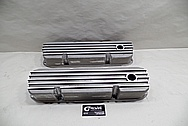 Ford 351 Cleveland Engine Aluminum Valve Covers With Fins BEFORE Chrome-Like Metal Polishing - Aluminum Polishing Services