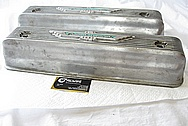 Vintage Aluminum Ford Thunderbird Aluminum Valve Covers BEFORE Chrome-Like Metal Polishing and Buffing Services