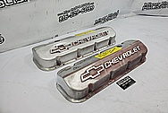 Chevrolet Aluminum Valve Covers BEFORE Chrome-Like Polishing and Buffing - Aluminum Polishing - Valve Cover Polishing Plus Custom Accent Painting Service