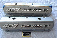 Big Block Chevy V8 Aluminum Valve Covers BEFORE Chrome-Like Metal Polishing and Buffing Services