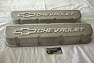 Chevrolet Aluminum Engine Valve Covers BEFORE Chrome-Like Metal Polishing and Buffing Services