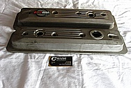 Chevrolet Corvette Aluminum Engine Valve Covers BEFORE Chrome-Like Metal Polishing and Buffing Services Plus Painting Services