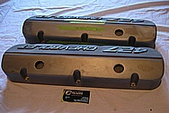 Chevrolet 427 Aluminum Valve Covers BEFORE Chrome-Like Metal Polishing and Buffing Services Plus Painting Services