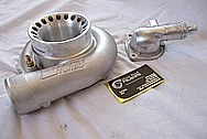 2006 Mitsubishi EVO 9 Aluminum Thermostat Housing BEFORE Chrome-Like Metal Polishing and Buffing Services Plus Clearcoating Services