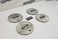 Chevy Corvette Aluminum Wheel Centercaps AFTER SATIN FINISH Polishing and Buffing - Aluminum Polishing - Wheel Polishing - Centercap Polishing