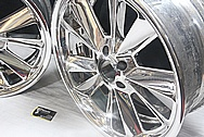 Front and Back of Aluminum Wheels AFTER Chrome-Like Metal Polishing and Buffing Services / Restoration Services