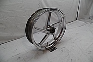 Aluminum 5 Blade Motorcycle Wheels AFTER Chrome-Like Metal Polishing - Aluminum Polishing