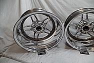 Black Coated Twin Spoke / 10 Blade Aluminum Wheels AFTER Chrome-Like Metal Polishing - Aluminum Polishing - Wheel Polishing