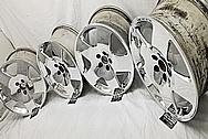 Aluminum 5 Star Wheels AFTER Chrome-Like Metal Polishing and Buffing Services - Aluminum Polishing - Wheel Polishing