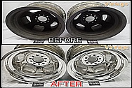 BEFORE AND AFTER Chrome-Like Metal Polishing and Buffing Services / Restoration Services - Aluminum Wheel Polishing