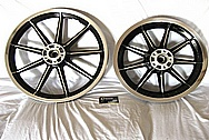Aluminum Motorcycle Wheel AFTER Chrome-Like Metal Polishing and Buffing Services Plus Custom Painting Services
