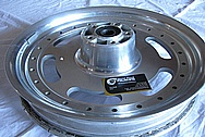 Aluminum Motorcycle Wheel BEFORE Chrome-Like Metal Polishing and Buffing Services