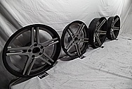 Core Brand 3 Piece Aluminum Wheels BEFORE Chrome-Like Metal Polishing and Buffing Services