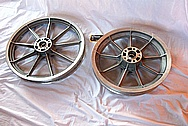 Aluminum Motorcycle Wheel BEFORE Chrome-Like Metal Polishing and Buffing Services Plus Custom Painting Services