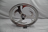 Custom Aluminum Motorcycle Wheel BEFORE Chrome-Like Metal Polishing and Buffing Services / Restoration Services
