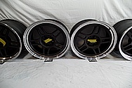 Black Coated Twin Spoke / 10 Blade Aluminum Wheels BEFORE Chrome-Like Metal Polishing - Aluminum Polishing - Wheel Polishing