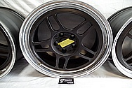 Black Coated Twin Spoke / 10 Blade Aluminum Wheels BEFORE Chrome-Like Metal Polishing - Aluminum Polishing - Wheel Polishing