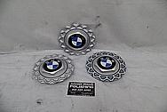 BMW Aluminum Wheel Centercaps BEFORE Chrome-Like Metal Polishing and Buffing Services - Aluminum Polishing Services Plus Custom Painting Services