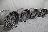 BMW E30 Aluminum BBS Wheels BEFORE Chrome-Like Metal Polishing - Aluminum Polishing Services Plus Custom Painting Services