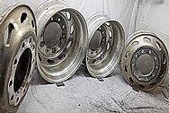 Semi Truck Aluminum Wheels BEFORE Chrome-Like Metal Polishing and Buffing Services / Restoration Services - Aluminum Polishing - Wheel Polishing