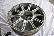 "Subaru WRX STI Aluminum 17"" Wheel BEFORE Chrome-Like Metal Polishing and Buffing Services"