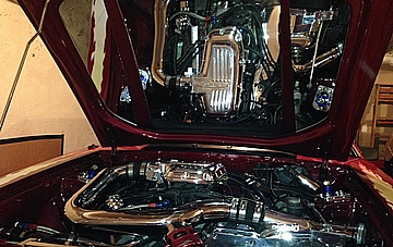 Doug's 1987 342 C.I. F1R 934 horsepower Ford Mustang Engine Compartment AFTER Full Metal Polishing of Various Aluminum Components Completed
