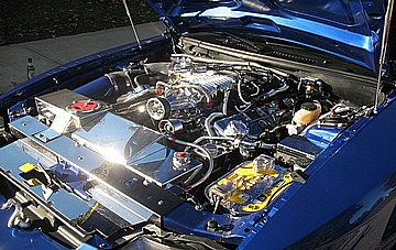 John's Ford Mustang Cobra Engine Compartment AFTER Full Polishing of Metal Components Completed